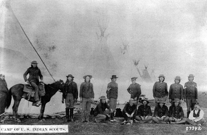 1880 historical photo of U.S. Army soldiers and Indian Scouts