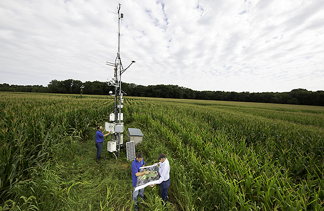 ARS scientists collect sensor data at a 100-year-old LTAR site in Beltsville, MD