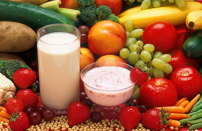 Fresh fruits and vegetables, soy milk, and low-fat yogurt