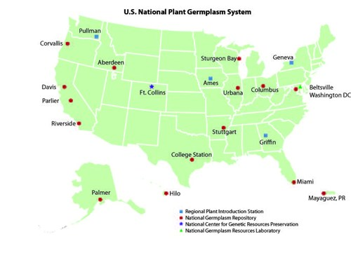 Map: U.S. National Plant Germplasm System