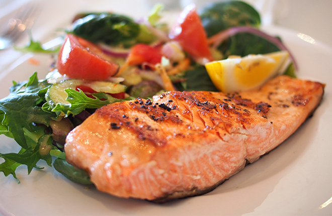 Cooked salmon.