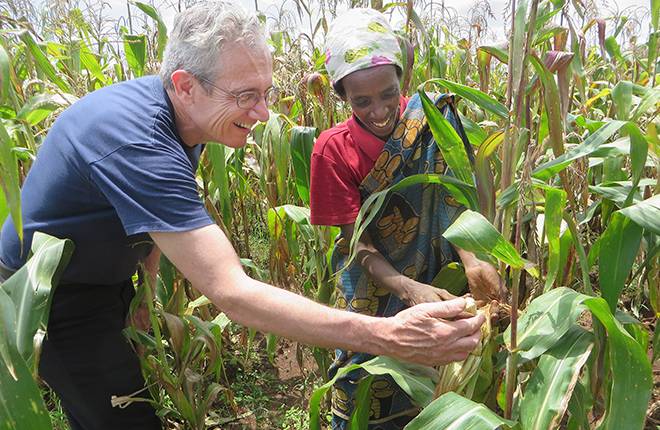 Scientists and worker inspect corn in field.
