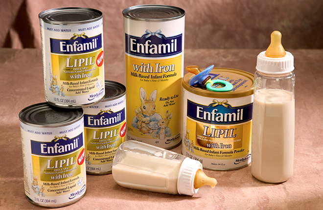 Cans and bottles of infant formula.