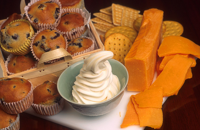 Muffins, ice cream, and cheddar cheese.