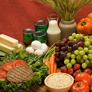 Fruits, vegetables, grains, dairy products, beef.