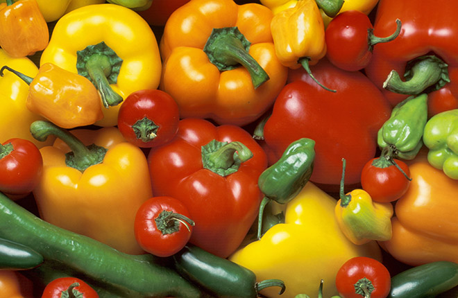 Different types of peppers.