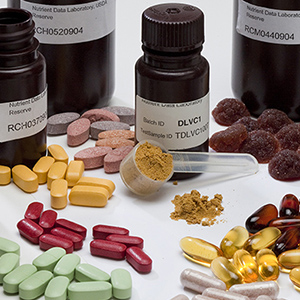 Dietary supplements and bottles.