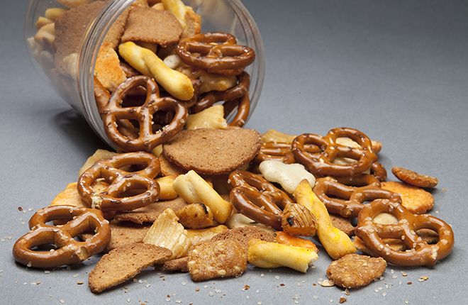 A mix of pretzels and crackers.