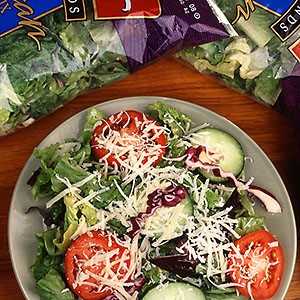 A salad and bagged lettuce. Link to photo information.