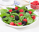 Salad of spinach, blackberries, and raspberries